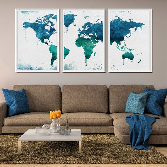 WORLD MAP Art Print Large Wall World Map Poster Watercolor Painting Prints Travel L15