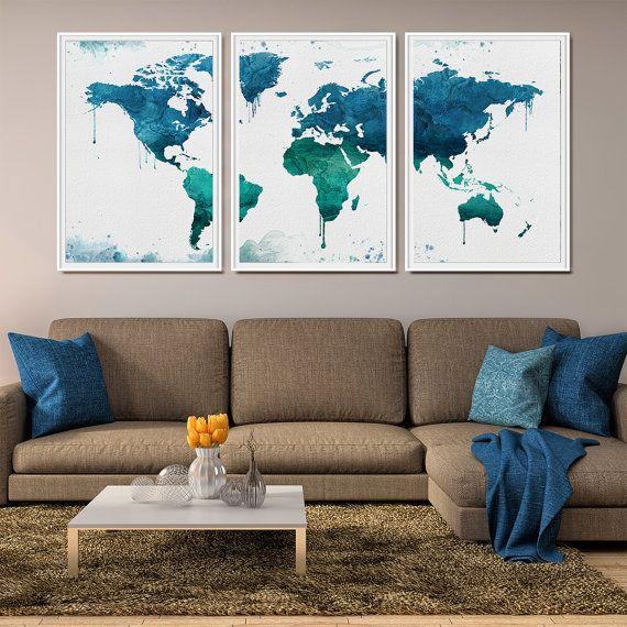 world map art print large wall art world map by