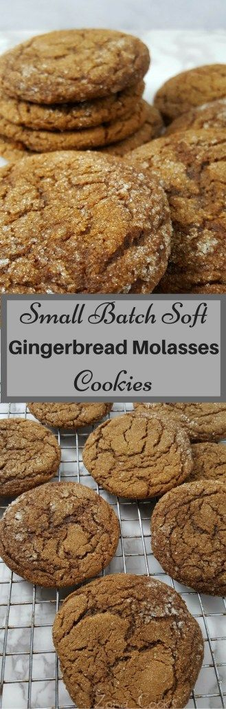 These Soft Gingerbread Molasses Cookies combine ginger, molasses, cinnamon and sugar to form the perfect soft batch cookie. They smell and taste amazing and are easy and quick, ready in just 20 minutes. This small batch recipe makes about 8 large cookies.