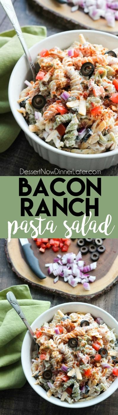 Bacon Ranch Pasta Salad is perfect for BBQ's and all your summer get togethers. It's loaded with pasta, bacon, cheese, olives, tomatoes, and onion – then tossed with a simple, creamy ranch dressing.