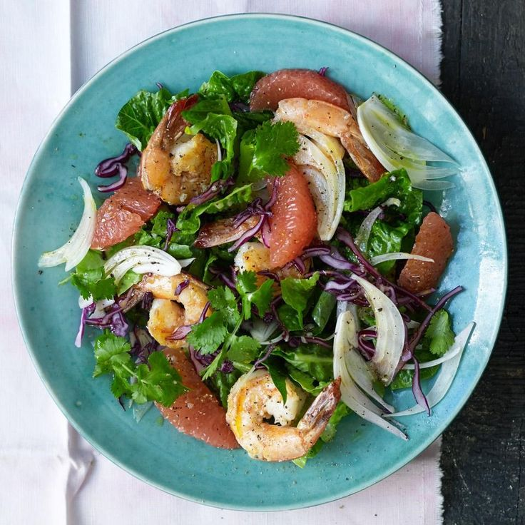The burst-in-your-mouth juicy sweetness of red grapefruit is a great partner for the slightly briny and chewy bite of cooked shrimp. In this healthy salad recipe, we use romaine lettuce and red cabbage, but a handful of peppery arugula or watercress would be a nice addition.