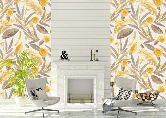 Removable Peel And Stick Wallpaper Yellow Floral Rustic Etsy Peel And Stick Wallpaper Home Wallpaper Vinyl Wallpaper