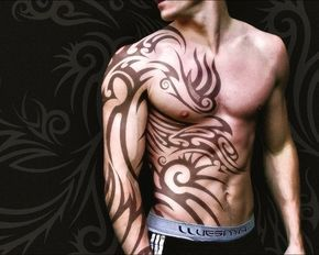 The Polynesian inspired tribal tattoo covers half of front body include chest. Love the masculine style.