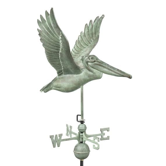 Pelican Weathervane With Roof Mount Blue Verde Copper By Good Directions Good Directions Weathervanes Cupolas