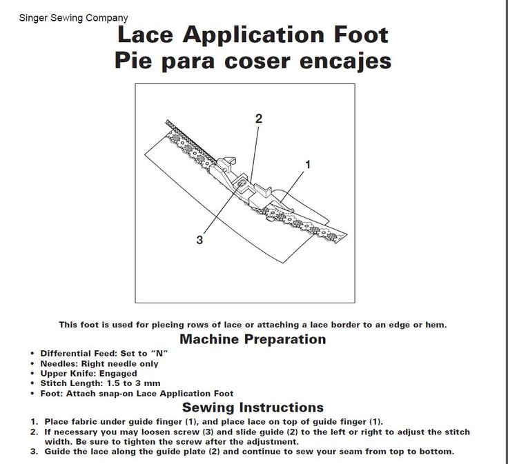 Lace application foot for Singer serger. http://cart.jennys-sewing-studio.com/index.php?main_page=product_info&cPath=511_523&products_id=1174