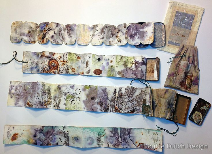 Little accordion books, eco-printed, gelli printed and fabric and findings added. Housed in vintage tins. #mixed_media #journal #printing