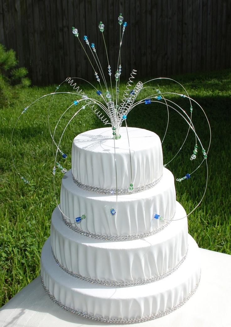 CUSTOM Wedding Cake Topper Unique DECOR Wire, Swarovski crystal And Glass Beads CHOOSE Your Colors