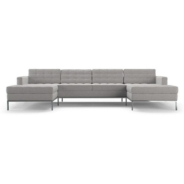 Joybird Franklin Mid Century Modern Gray U-Chaise Sectional ($4,409) ❤ liked on Polyvore featuring home, furniture, sofas, grey, mid century modern furniture, tufted couch, grey tufted couch, gray tufted sofa and grey tufted sofa