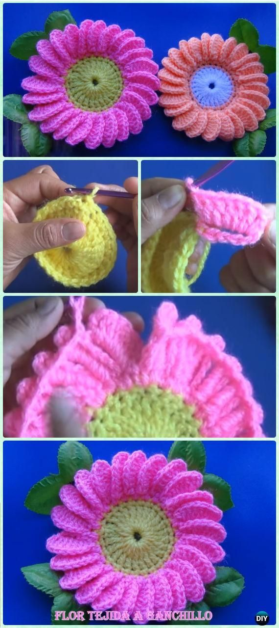 Crochet Daisy Flower Free Pattern [Video] - Crochet 3D Flower Motif Free Patterns