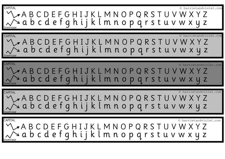 Alphabet Chart (Alphabet strip) Capital & Lower Case Grey Scale
