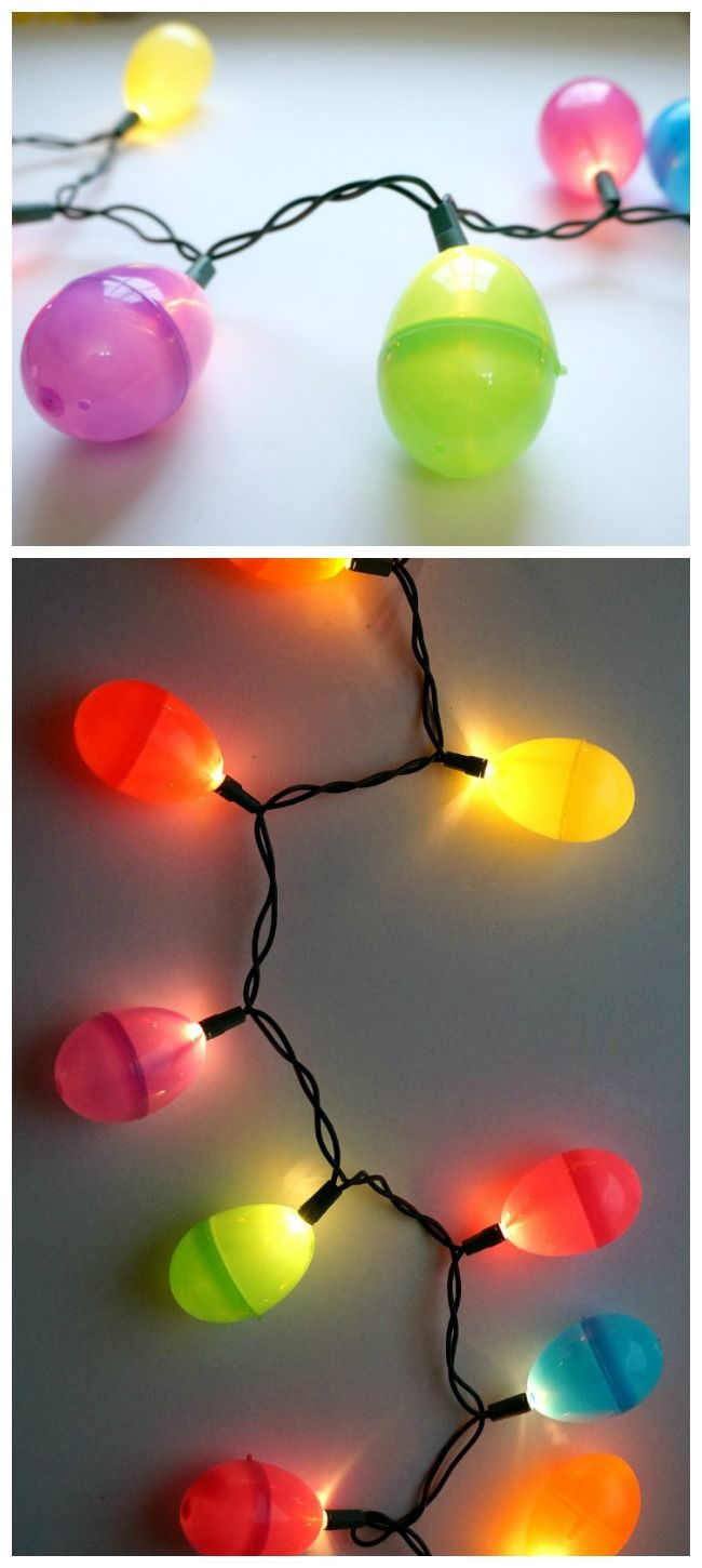 Sometimes I see stuff like this  comma and I think to myself  why didn't I ever think of this !? Seriously  like a no-brainer  grrrr Easter egg string lights, easy DIY project using plastic Easter eggs.