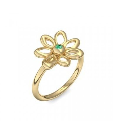 Blumenring Ring Blume Blumig Gold Smaragd (Gelbgold 585) - Blumen - Say it with flowers Amoonic