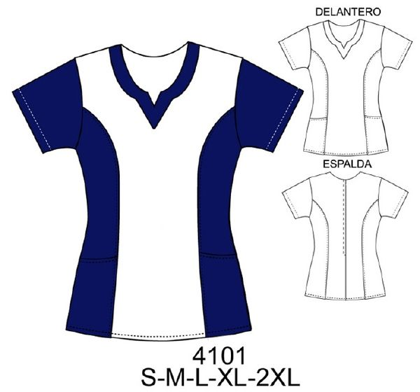 Delantal cuello en forma V corte princesa. Art.: 4101. Telas poplin , by strech, Consumo talla L: Blanco: 75 cms. Azul: 75 cms. Aprox.