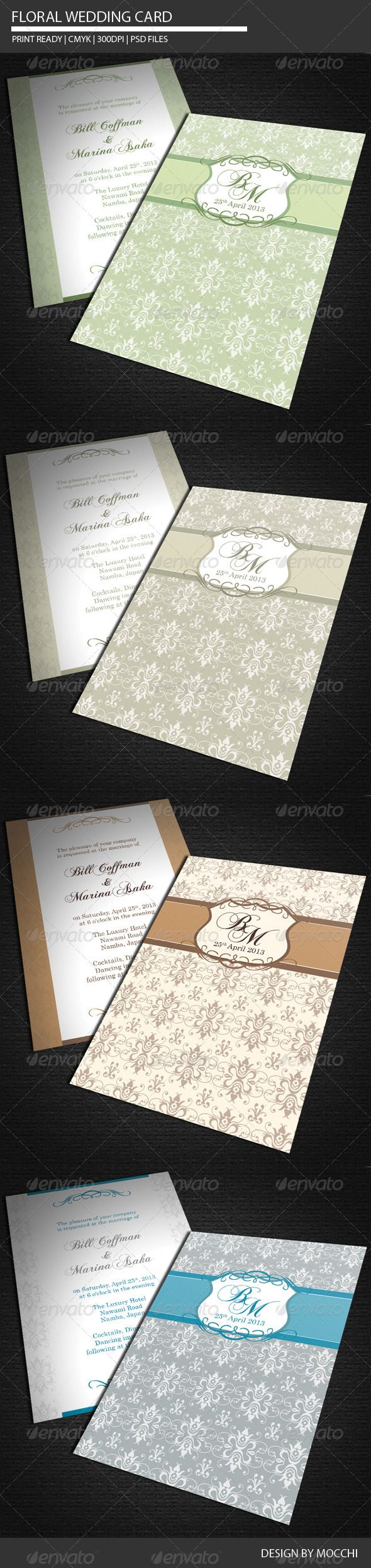Floral Wedding Card Template PSD | Buy and Download: http://graphicriver.net/item/floral-wedding-card/2222712?WT.ac=category_thumb&WT.z_author=MOCCHI&ref=ksioks