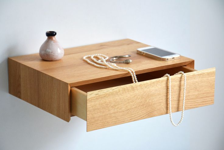 Pair of minimalist floating nightstands with drawer made of oak by MyBetterShelf on Etsy https://www.etsy.com/listing/586423897/pair-of-minimalist-floating-nightstands