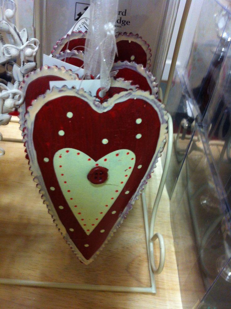Chic Red & Cream Button Heart