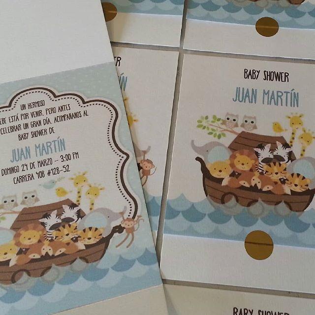 Tarjeta Invitación De Baby Shower Animalitos Arca De Noe