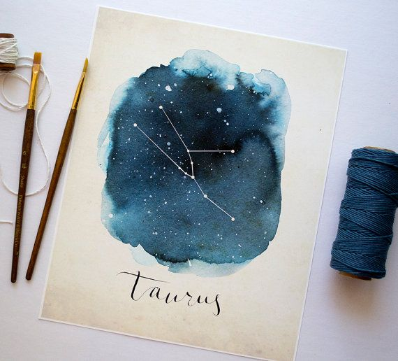 DIY astrology constellation water colors- Taurus Print by DandelionPaperCo on Etsy