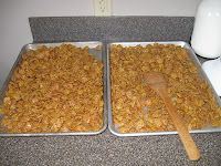20 oz. Crispix cereal ( use the real stuff, the generic tends to crumble!)  2 sticks of butter  2 cups brown sugar  3/4 c. light Karo syrup  dash of salt  1/2 tsp. baking soda