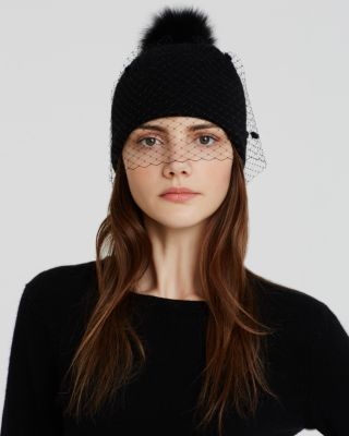 Helene Berman Beanie Hat with Veil & Fox Fur Pom Pom | Bloomingdale's