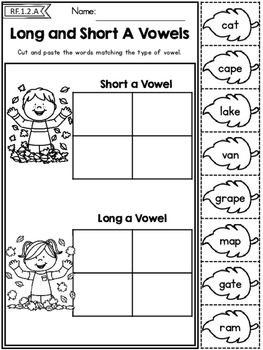Autumn 1st Grade No Prep Literacy Worksheets