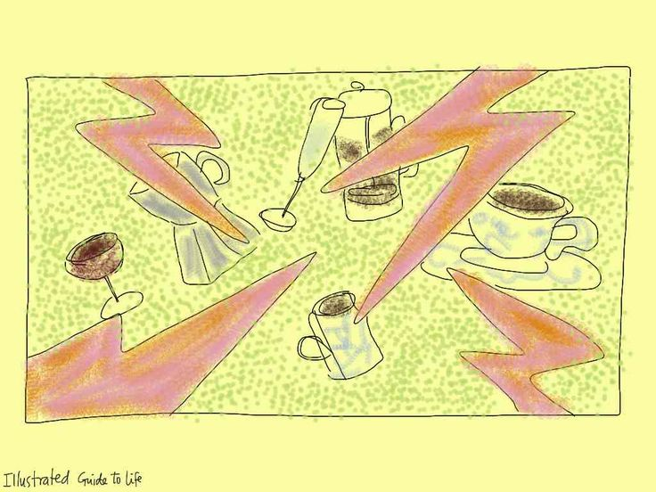 The biggest lie about coffee http://illustratedguidetolife.com/2013/10/04/the-biggest-lie-about-coffee/ Illustration drawing ipad painting: coffee cups espresso cafetiere caffeine