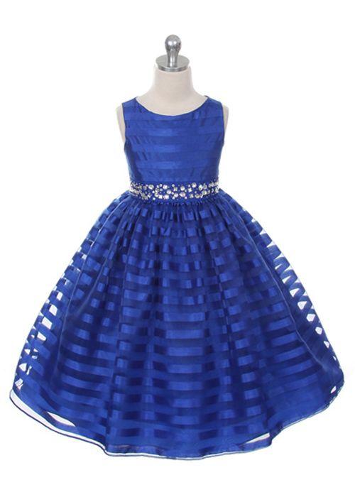 Royal Blue Stripe Organza Holiday Girl Dress $48 | Story of Princess #flowergirl