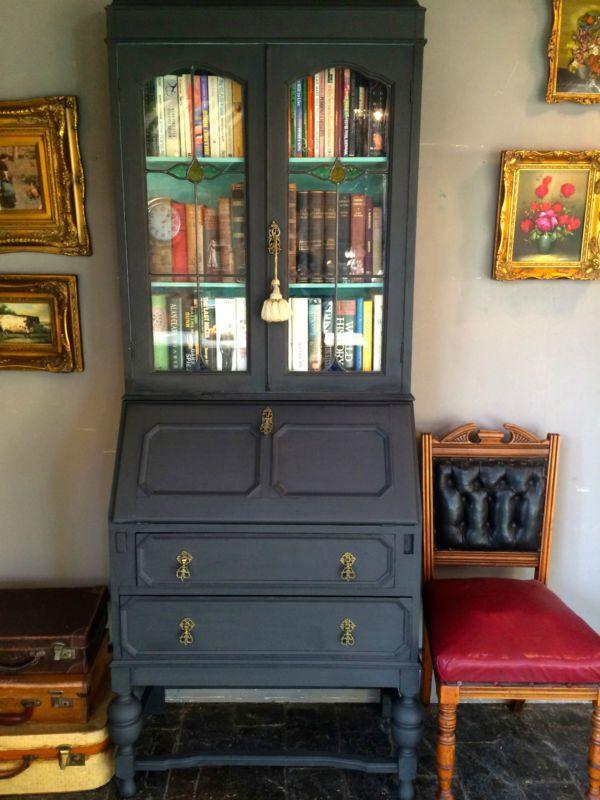 Antique Writing Bureau, Bookcase, Shabby Chic, Annie Sloan, Solid Oak, Graphite