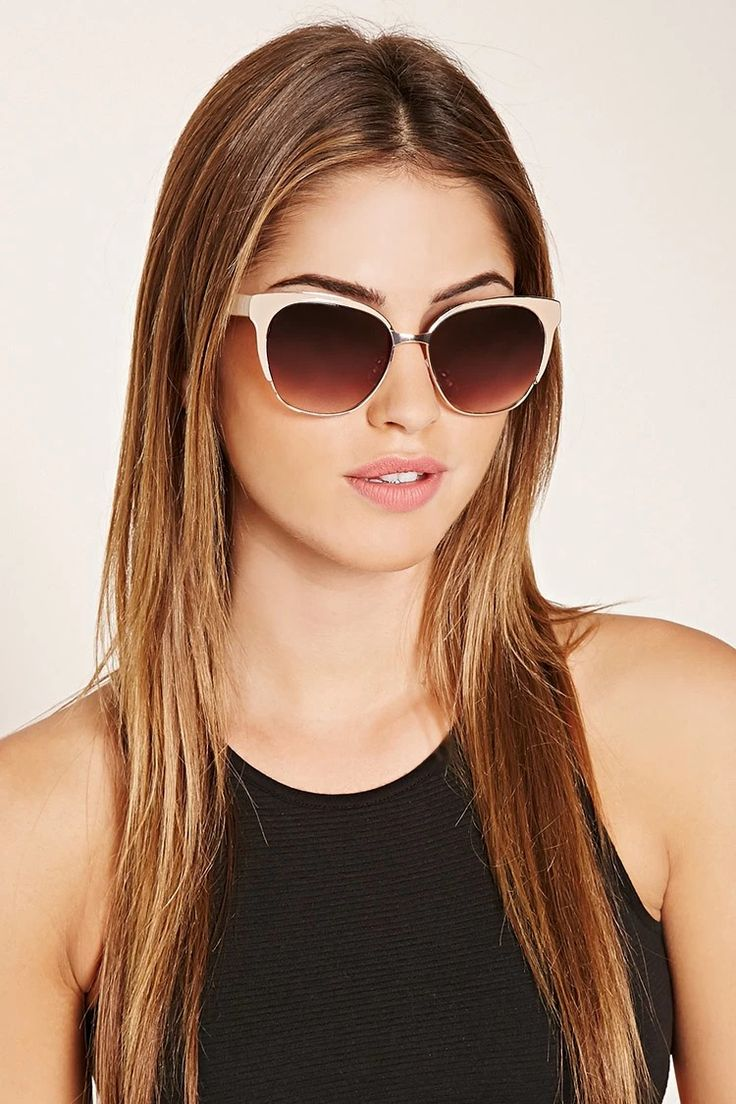 A pair of midweight sunglasses featuring a square shape, a high-shine finish, and gradated lenses. #accessorize