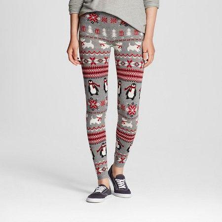 Women's Patterned Legging Gray Penguin L - Mossimo Supply Co. (Junior's) : Target