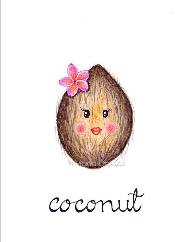 Noix de coco fruit art aquarelle peinture originale. Illustration de la noix de coco mignon. Art lunatique coco fruits pépinière. Art mural de cuisine fruits aliments.