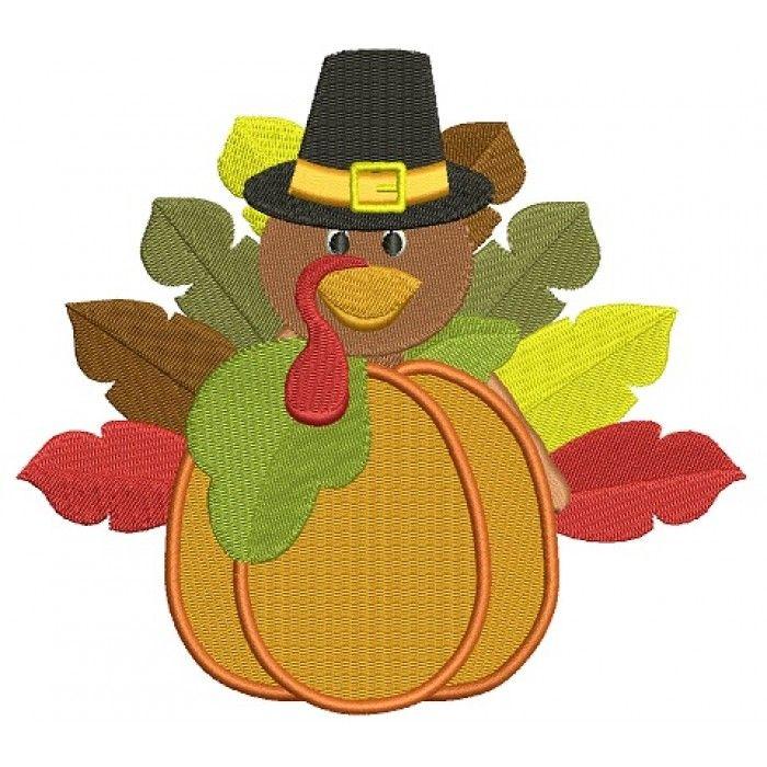 Turkey with a hat on pumpkin thanksgiving filled machine