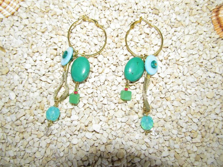 Handmade earrings (1 pair)  Made with antiallergic gold earring hoops, metal look gold cord, gemstones and glass beads.