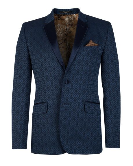 Jacquard tuxedo jacket - Navy | Blazers | Ted Baker UK