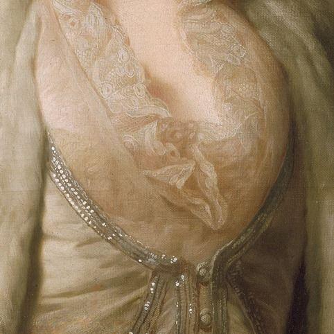 Alexander Roslin: Ritratto di Zoie Ghika, principessa moldava. Olio su tela del 1777. 64,7 X 53 cm. Locazione sconosciuta. Una camicetta impalpabile, trasparente e dal morbido pizzo sullo scollo, fa intravvedere appena dell'altro pizzo sotto: il giacchino a gilet è profilato in argento, ma tutto l'abito è di un raffinato color tortora, molto elegante.