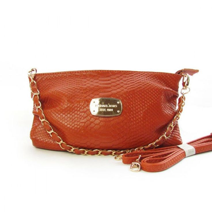 Michael Kors Large Python-Embossed Clutch Chocolate