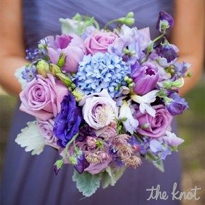 Purple Hued Bridesmaids Bouquet...soft touches of hydrangeas, tulips, and roses.