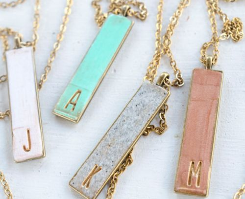 single letter clay pendant necklace