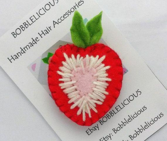 Felt sponky do vlasů - Felt Handmade Sliced Strawberry vlasů klip, jahody, uchopení vlasy klip Girls vlasové doplňky