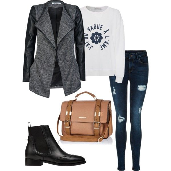 A fashion look from February 2015 featuring AG Adriano Goldschmied sweaters, ONLY jackets and Balenciaga ankle booties. Browse and shop related looks.
