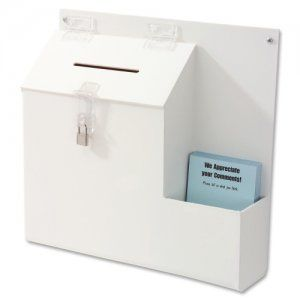 Suggestion Box with Lock Deflecto 79803 DEF79803 Suggestion Boxes & Cards