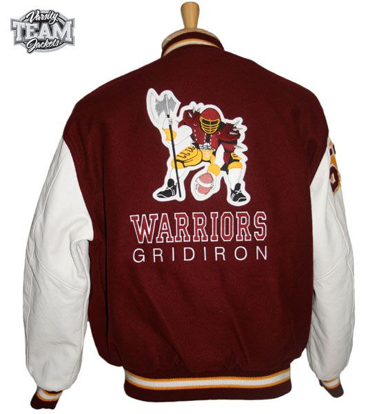 Custom order for Warriors Gridiron to produce a replica from an original 1980's jacket.  Custom wool and leather varsity jacket back with chenille patches and embroidery by Team Varsity Jackets. www.teamjackets.net www.facebook.com/TeamVarsityJackets