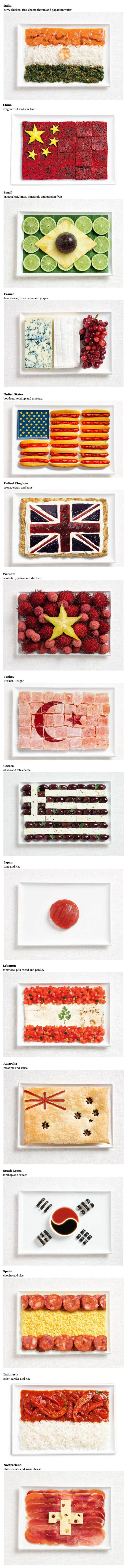 Flags made from the food of the people. Jeez, now I'm hungry!