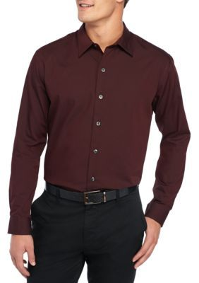 Van Heusen Men's Long Sleeve Sateen Stripe Shirt - Burgundy Corazon - 3Xlt