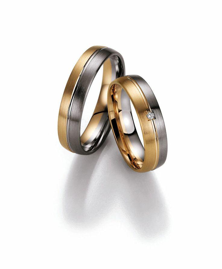 Palladium trouwringen gecombineerd met apricot goud. Zeer chique en toch betaalbaar!