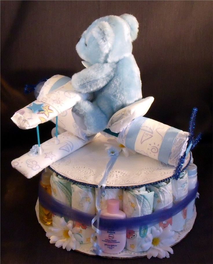 Diaper Cakes For Boys | Blue AIRPLANE Baby Shower Gift Boy Diaper Cake Centerpiece - Diapering