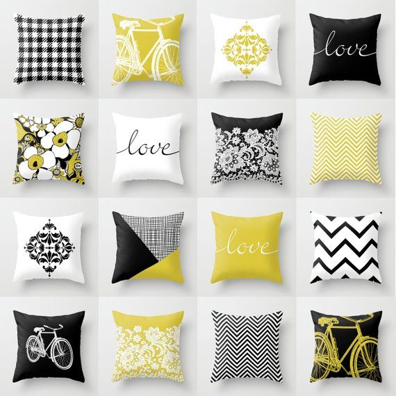 Black White Mustard Yellow Throw Pillow 16 Mix And Match Designs Available In 4 Sizes Indoor Yellow Throw Pillows Grey And Yellow Living Room Throw Pillows