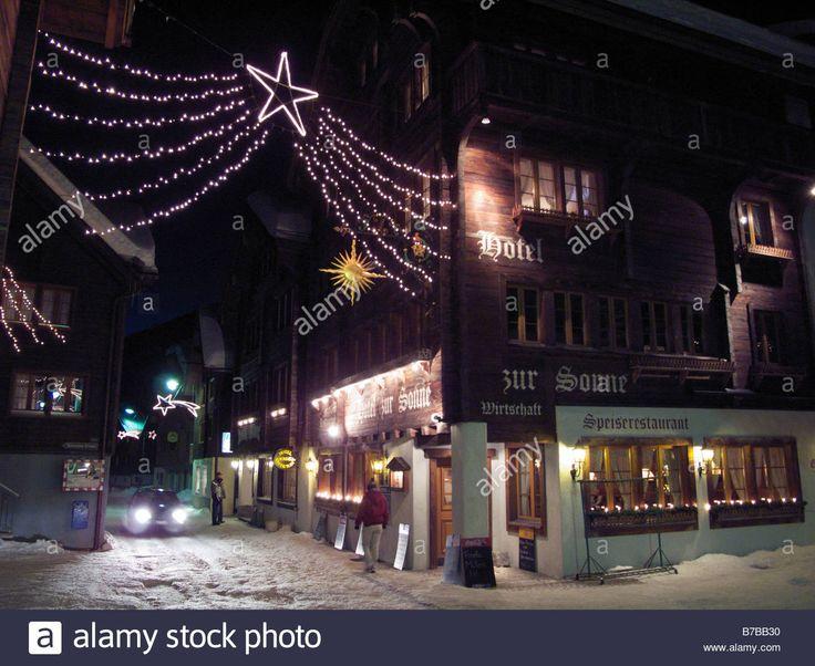 Andermatt Switzerland Christmas street scene Stock Photo