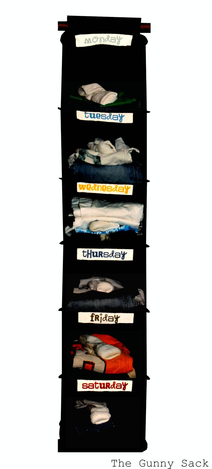 Organize outfits for the week. Saves time in the morning. I already have a pink one that would be perfect for this.