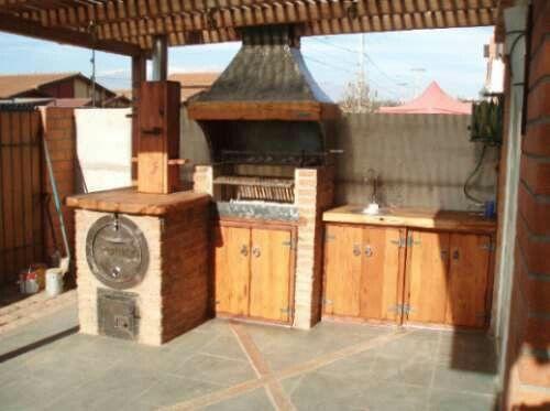 quincho con horno para patio pequeño